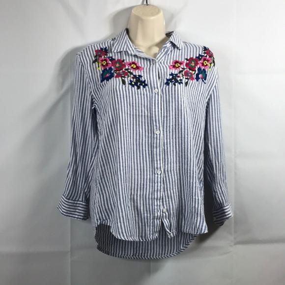 c804bb71f8f25 Old Navy Shirts & Tops | Boyfriend Shirt Embroidered Large | Poshmark
